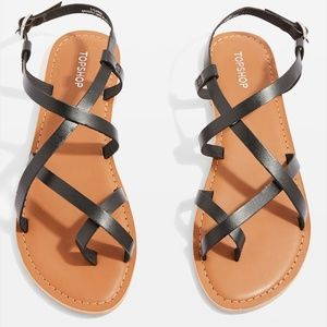 Nwt! Topshop Leather Strappy Sandals